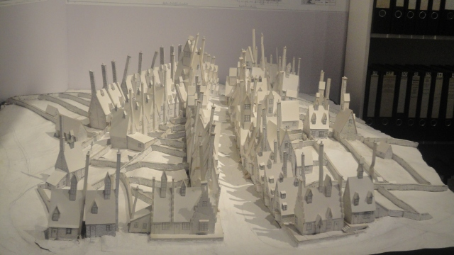 A white card model of Diagon Alley