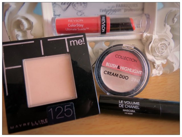 Speedy essentials: Fit Me Powder, Revlon Colourstay, Collection Blusher and  Highlight Duo and Volume de Chanel Mascara
